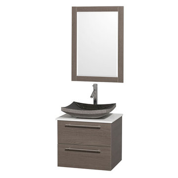 Wyndham Amare Gray Oak 24 Inch Vanity With White Stone Top, Mirror And Black Sink