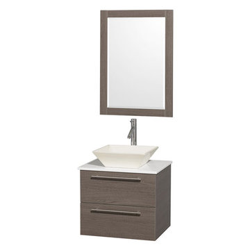 Wyndham Amare Gray Oak 24 Inch Vanity With White Stone Top, Mirror And Bone Sink