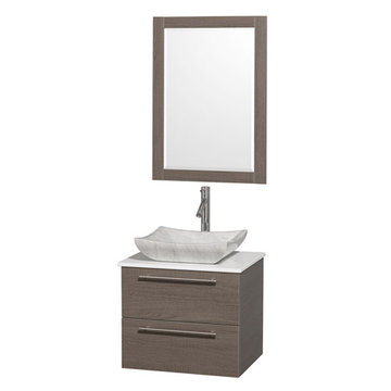 Wyndham Amare Gray Oak 24 Inch Vanity With White Stone Top, Mirror And Carrera Marble Sink
