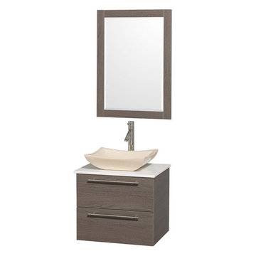 Wyndham Amare Gray Oak 24 Inch Vanity With White Stone Top, Mirror And Ivory Sink