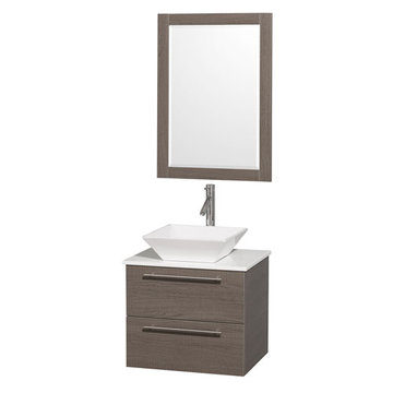 Wyndham Amare Gray Oak 24 Inch Vanity With White Stone Top, Mirror And White Sink