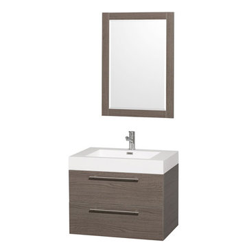 Wyndham Amare Gray Oak 30 Inch Vanity With Acrylic And Mirror