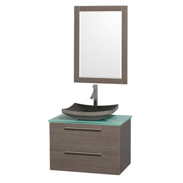 Wyndham Amare Gray Oak 30 Inch Vanity With Glass Top, Mirror And Black Sink