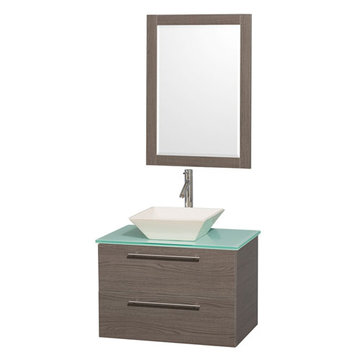 Wyndham Amare Gray Oak 30 Inch Vanity With Glass Top, Mirror And Bone Sink