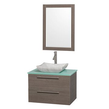 Wyndham Amare Gray Oak 30 Inch Vanity With Glass Top, Mirror And Carrera Marble Sink