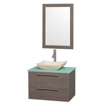 Wyndham Amare Gray Oak 30 Inch Vanity With Glass Top, Mirror And Ivory Sink