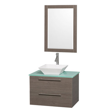 Wyndham Amare Gray Oak 30 Inch Vanity With Glass Top, Mirror And White Sink