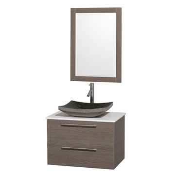 Wyndham Amare Gray Oak 30 Inch Vanity With White Stone Top, Mirror And Black Sink