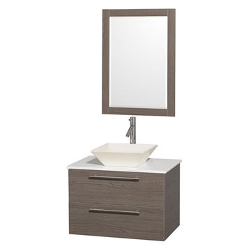Wyndham Amare Gray Oak 30 Inch Vanity With White Stone Top, Mirror And Bone Sink