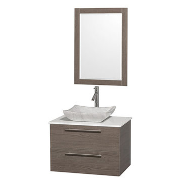 Wyndham Amare Gray Oak 30 Inch Vanity With White Stone Top, Mirror And Carrera Marble Sink