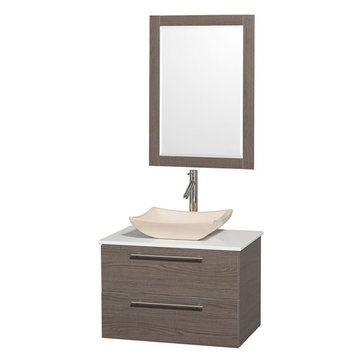 Wyndham Amare Gray Oak 30 Inch Vanity With White Stone Top, Mirror And Ivory Sink