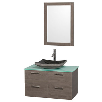 Wyndham Amare Gray Oak 36 Inch Vanity With Glass Top, Black Sink And Mirror
