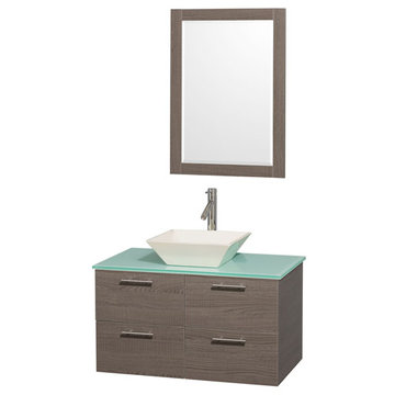 Wyndham Amare Gray Oak 36 Inch Vanity With Glass Top, Bone Sink And Mirror