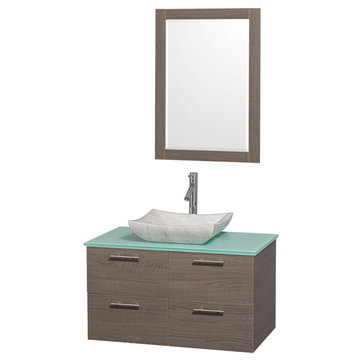 Wyndham Amare Gray Oak 36 Inch Vanity With Glass Top, Carrera Marble Sink And Mirror