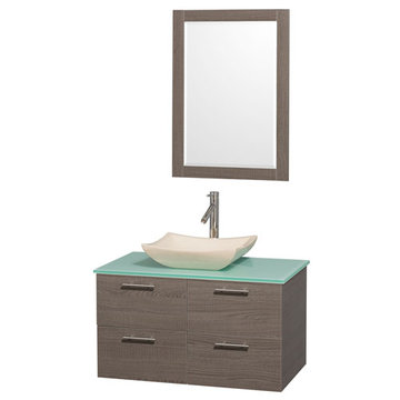 Wyndham Amare Gray Oak 36 Inch Vanity With Glass Top, Ivory Sink And Mirror