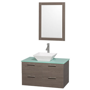 Wyndham Amare Gray Oak 36 Inch Vanity With Glass Top, White Sink And Mirror