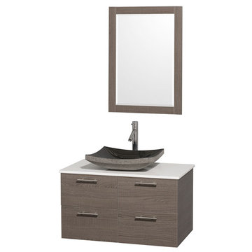 Wyndham Amare Gray Oak 36 Inch Vanity With White Stone Top, Black Sink And Mirror