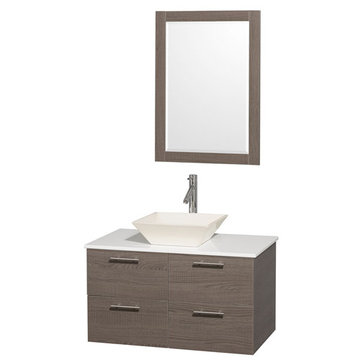 Wyndham Amare Gray Oak 36 Inch Vanity With White Stone Top, Bone Sink And Mirror