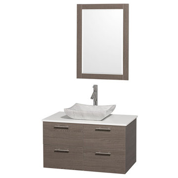 Wyndham Amare Gray Oak 36 Inch Vanity With White Stone Top, Carrera Marble Sink And Mirror