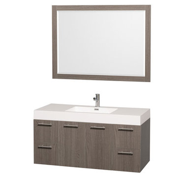 Wyndham Amare Gray Oak 48 Inch Vanity With Acrylic And Mirror