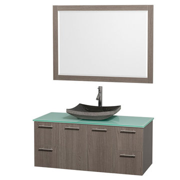 Wyndham Amare Gray Oak 48 Inch Vanity With Glass Top, Black Sink And Mirror