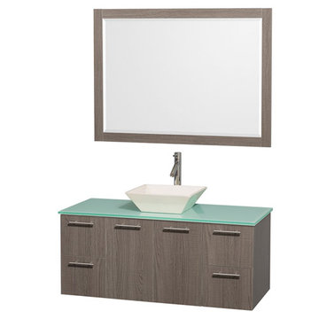 Wyndham Amare Gray Oak 48 Inch Vanity With Glass Top, Bone Sink And Mirror