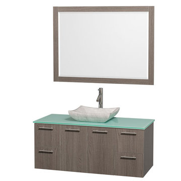Wyndham Amare Gray Oak 48 Inch Vanity With Glass Top, Carrera Marble Sink And Mirror