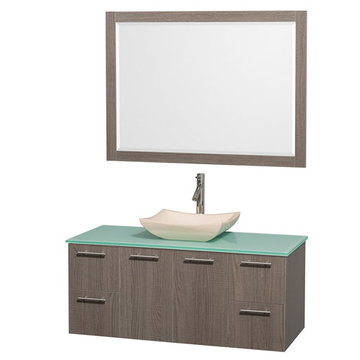 Wyndham Amare Gray Oak 48 Inch Vanity With Glass Top, Ivory Sink And Mirror