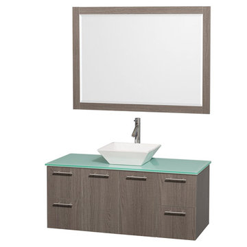 Wyndham Amare Gray Oak 48 Inch Vanity With Glass Top, White Sink And Mirror