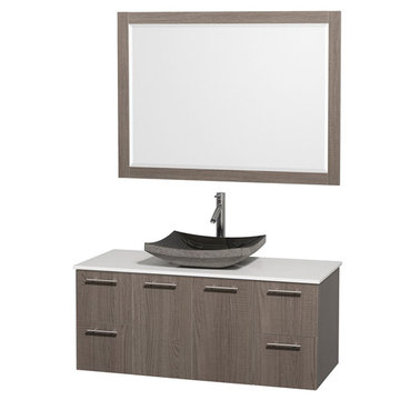 Wyndham Amare Gray Oak 48 Inch Vanity With White Stone Top, Black Sink And Mirror