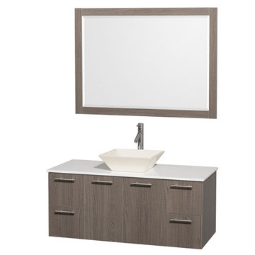 Wyndham Amare Gray Oak 48 Inch Vanity With White Stone Top, Bone Sink And Mirror