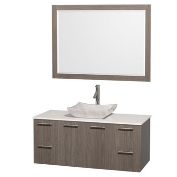 Wyndham Amare Gray Oak 48 Inch Vanity With White Stone Top, Carrera Marble Sink And Mirror
