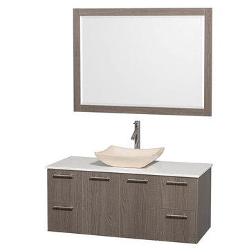 Wyndham Amare Gray Oak 48 Inch Vanity With White Stone Top, Ivory Sink And Mirror