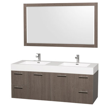 Wyndham Amare Gray Oak 60 Inch Double Vanity With Acrylic And Mirror