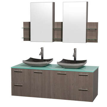 Wyndham Amare Gray Oak 60 Inch Double Vanity With Glass Top, Black Sinks And Medicine Cabinets