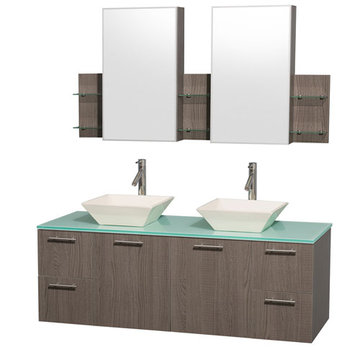 Wyndham Amare Gray Oak 60 Inch Double Vanity With Glass Top, Bone Sinks And Medicine Cabinets