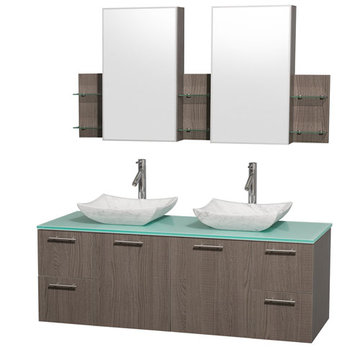 Wyndham Amare Gray Oak 60 Inch Double Vanity With Glass Top, Carrera Marble Sinks And Medicine Cabinets