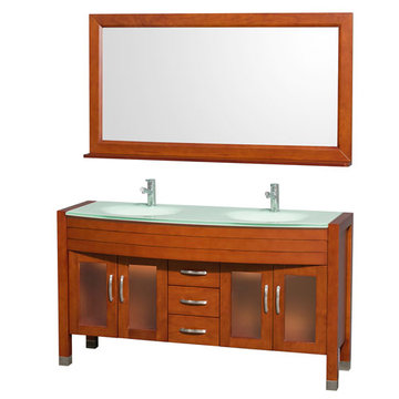 Wyndham Daytona 60 Inch Double Cherry Vanity With Glass And Mirror