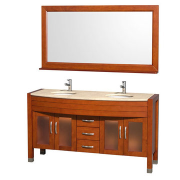 Wyndham Daytona 60 Inch Double Cherry Vanity With Ivory Marble And Mirror