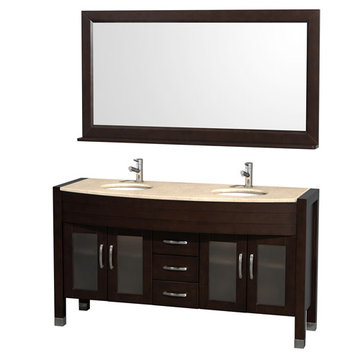 Wyndham Daytona 60 Inch Double Espresso Vanity With Ivory Marble And Mirror
