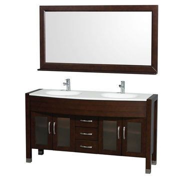 Wyndham Daytona 60 Inch Double Espresso Vanity With White Stone And Mirror