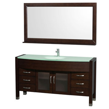 Wyndham Daytona 60 Inch Espresso Vanity With Glass And Mirror