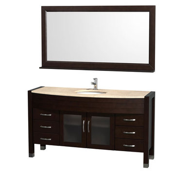 Wyndham Daytona 60 Inch Espresso Vanity With Ivory Marble And Mirror