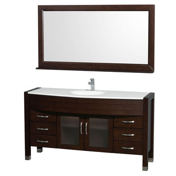 Wyndham Daytona 60 Inch Espresso Vanity With White Stone And Mirror