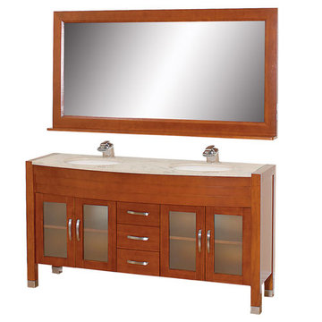 Wyndham Daytona 63 Inch Double Cherry Vanity With Ivory Marble And Mirror