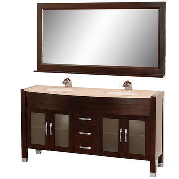 Wyndham Daytona 63 Inch Double Espresso Vanity With Ivory Marble And Mirror