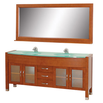 Wyndham Daytona 71 Inch Double Cherry Vanity With Glass And Mirror