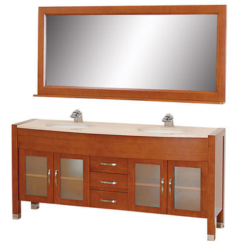 Wyndham Daytona 71 Inch Double Cherry Vanity With Ivory Marble And Mirror