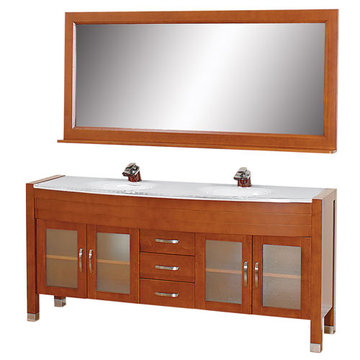 Wyndham Daytona 71 Inch Double Cherry Vanity With White Stone And Mirror
