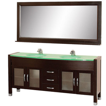 Wyndham Daytona 71 Inch Double Espresso Vanity With Glass And Mirror